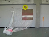 Hardboard, bags of water, plastic sheeting, canvas, paper. 2007.