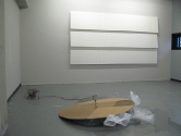 AJAR. 2007. Bare stretched 3meter canvases, hardboard, rope, water bags.